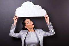 Businesswoman paper cloud Stock Photo