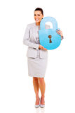 Businesswoman paper lock Royalty Free Stock Images