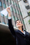 Businesswoman with Paper Plane Royalty Free Stock Photo