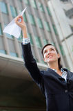 Businesswoman with Paper Plane Royalty Free Stock Images