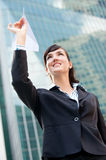 Businesswoman with Paper Plane Royalty Free Stock Photos