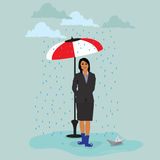 Businesswoman with paper ship under the umbrella during rain, vector illustration Stock Photography
