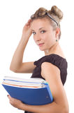Businesswoman with papers and glasses Royalty Free Stock Photography