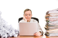 Businesswoman with paperwork Royalty Free Stock Image