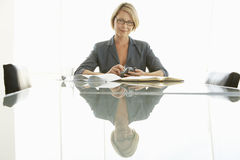 Businesswoman With Paperwork At Conference Table Stock Images
