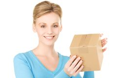 Businesswoman with parcel Stock Photo