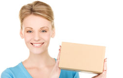 Businesswoman with parcel Royalty Free Stock Image