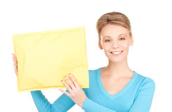 Businesswoman with parcel Royalty Free Stock Photography