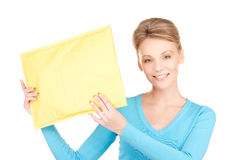 Businesswoman with parcel Royalty Free Stock Photo