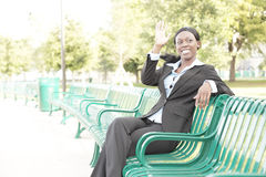 Businesswoman in the park Royalty Free Stock Photos