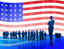 Businesswoman on Patriotic American Flag Royalty Free Stock Photography