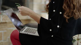 Businesswoman paying in the Internet stock footage