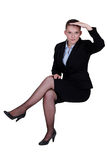 Businesswoman peering into the distance Royalty Free Stock Photography