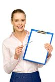 Businesswoman with pen and clipboard Royalty Free Stock Photos