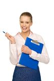 Businesswoman with pen and clipboard Royalty Free Stock Image