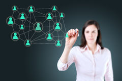 Businesswoman with pen drawing social network or multi level marketing connection concept illustration on a whiteboard. stock image