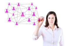 Businesswoman with pen drawing social network or multi level marketing connection concept illustration on a whiteboard. Isolated o Stock Images
