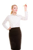 Businesswoman with pen writing on screen whiteboard isolated Royalty Free Stock Image