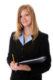 Businesswoman with Pencil and folder Stock Photography