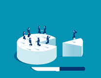 Businesswoman people standing on cake. Concept business illustration. Vector Stock Image