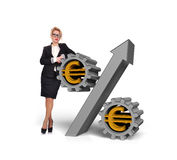 Businesswoman with percent Stock Images