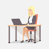 Businesswoman person, worker woman illustration. Businesswoman person, computer woman illustration Royalty Free Stock Photo