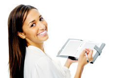 Businesswoman with personal organizer Stock Photography