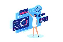 Businesswoman personally makes adjustment of site, diagrams, information, business. vector illustration