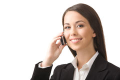 Businesswoman with a phone. Young, successful business woman with a cell phone isolated on a white background Stock Photo