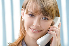 Businesswoman with phone Stock Photo