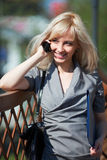 Businesswoman on the phone. Young blonde businesswoman on the phone Stock Photo