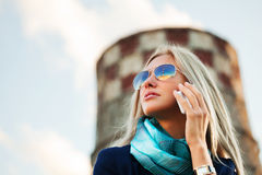 Fashion business woman calling on the cell phone Royalty Free Stock Image