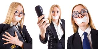 The businesswoman with phone in censorship concept Stock Photos
