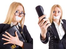 The businesswoman with phone in censorship concept Stock Photo