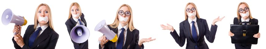 The businesswoman with phone in censorship concept Stock Photography