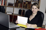 Businesswoman phone desk office Royalty Free Stock Images