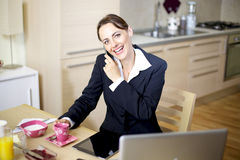 Businesswoman on the phone at home Royalty Free Stock Photography