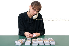 Businesswoman, phone and money Royalty Free Stock Image