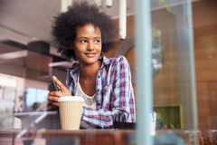 Businesswoman On Phone Using Digital Tablet In Coffee Shop Royalty Free Stock Image