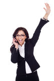 Businesswoman on the phone winning Stock Photography