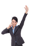 Businesswoman on the phone winning Royalty Free Stock Photo