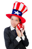Businesswoman with piggy bank Stock Images