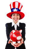 Businesswoman with piggy bank  isolated Stock Images