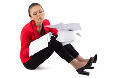Businesswoman with a pile of papers Royalty Free Stock Photo