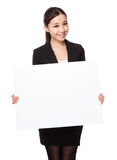 Businesswoman with placard Royalty Free Stock Photo