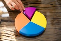 Businesswoman Placing Last Piece Into Pie Chart. Businesswoman`s Hand Placing Last Pink Piece Into Pie Chart Over Desk stock photo