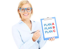 Businesswoman with plan A and plan B Royalty Free Stock Photo