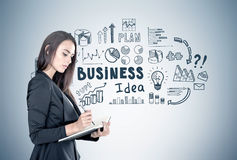 Businesswoman with a planner, business idea Royalty Free Stock Photos