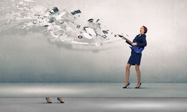 Businesswoman playing guitar Royalty Free Stock Images