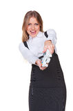 Businesswoman playing a video game Stock Photography